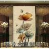 定制餐厅移动不锈钢屏风酒店中式花格客厅装饰山水画玻璃玄关隔断